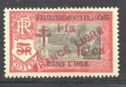 INDE ERREUR Surcharge «Croix De Lorraine Et PRANCE LIBRE» 1a 16 Ca  SUR 5 R - Maury 258b ** - Indien (1892-1954)