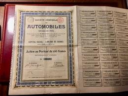 Sté  Générale   Des  AUTOMOBILES  ------ Action  De  100 Frs - Auto's