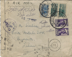 3-3-44 - WWII - Enveloppe De Durban ( Afrique Du Sud) Pour Beyrouth - Censure Française - Marcophilie (Lettres)