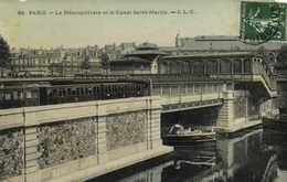 PARIS  Le Metropolitain Et Le Canal Saint Martin Peniche Colorisée Glacée RV - Arrondissement: 10