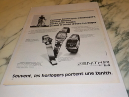 ANCIENNE  PUBLICITE  DE MONTRE ZENITH 1975 - Bijoux & Horlogerie