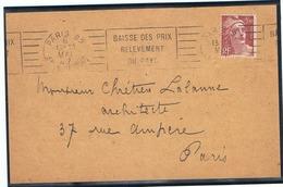 Marianne De Gandon 3f50 Yvert 716B Seul Sur LSI Avec OMEC - Marcophilie (Lettres)