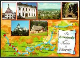 D1974 - TOP Silberstraße Landkarte Schwarzenberg Zwickau - Verlag Bild Und Heimat Reichenbach Qualitätskarte - Duitsland