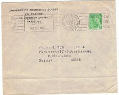 Mercure 45c Yvert 414 Seul Sur Lettre Pour La SUISSE OMEC Paris 81 - Postmark Collection (Covers)