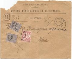 SEMEUSE ALGERIE 60C LIGNEE X2 SURCHARGE T DE TAXE MIXTE 30C ENVELOPPE DEFAUT SERVICE LAMY CONSTANTINE 10.10.27 - 1903-60 Semeuse Lignée