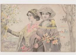 Cpa Fantaisie . Publicité Chocolat De Royat .A Rouzaud / 2 Jeunes Femmes .Style Art Nouveau - Publicité