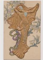 Jolie Cpa Fantaisie Avec Figure Dorée En  Relief / Jeune Femme Style Art Nouveau - Donne