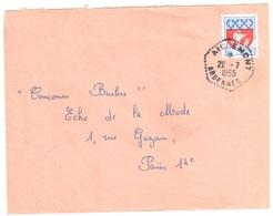 AIGLEMONT Ardennes Lettre 30c Paris Yv 1354B Ob 1965 Agence Postale Hexagone Pointillé F8 - Lettres & Documents