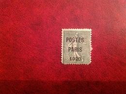 Preoblitéré YT 25 Postes Paris 1920, Manque 2 Dents - 1893-1947