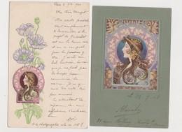 2 Cpa Fantaisie Dont 1 Gaufrée / Profil De Femme .Art Nouveau .Style Mucha - Femmes