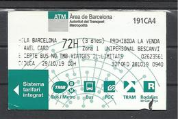 Spain, Barcelona, 3 Days Ticket, 2019. - Abonnements Hebdomadaires & Mensuels
