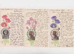 3 Cpa Fantaisie  Gaufrées / Profil De Femme .Art Nouveau .Style Mucha .avec Fleurs ( Iris , Coquelicots ) - Femmes