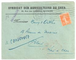 BOURGES Cher Lettre Entête Syndicat Agriculteur R Cordeliers IMPRIME 5c Semeuse Yv 158 Ob Meca 28 12 1923 - Covers & Documents