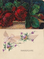 FLEURS - 2 CPA Fantaisie - Gaufrée - Ruban - Fleurs