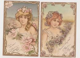 2 Jolies Cpa Fantaisie Gaufrées / Jeunes Femmes Et Fleurs ( Pensées , Aubépine ) - Femmes