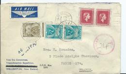 FRANCE - Lettre Au Départ De NOUVELLE ZELANDE - TAXEE à 24 Frs - Marcofilia (sobres)