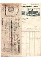 FactureFilatures Boutry-Droulers + Relevé De Factures + Mandat à Fives-Lille En 1927 - 1900 – 1949