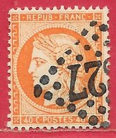 France N°38 Cérès 40c Orange 1870 O - 1870 Beleg Van Parijs