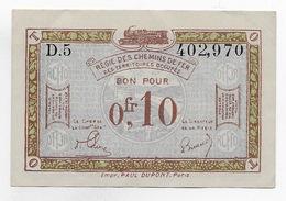 BILLET NECESSITE  REGIE DES CHEMINS DE FER DES TERRITOIRES OCCUPES 10 CENTIMES *1923 NEUF * RHENANIE * RUHR * - Bonds & Basic Needs