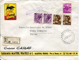 Italia (1963) - Raccomandata Da Martina Franca (TA) Con Affrancatura Gemellare - 6. 1946-.. Repubblica