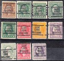 USA Precancel Vorausentwertung Preo, Locals Missouri, Saint Louis L-4 E, 2x 12, 1 X Shermack, 1 X 10, 3 X 11, 3 X Offset - Vereinigte Staaten