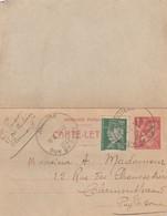 CARTE-LETTRE 1942. PUY-DE-DOME AUBIERE. ENTIER IRIS 1F COMPLEMENT PETAIN 50c POUR CLERMONT - Postmark Collection (Covers)