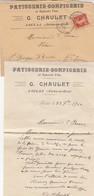 LETTRE 1910. SEINE ET OISE SACLAS PATISSERIE G.CHAULET POUR ST GEORGES D'AURAC - Marcophilie (Lettres)