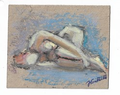 "Nu Féminin: Peinture Originale Signé ""J Van Moortel"" J = Jacqueline 8x10 Cm - Radierungen"