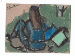 """Jeune Femme Assise: Peinture Originale Signé """"J Van Moortel"""" J = Jacqueline 8x10 Cm - Radierungen"""
