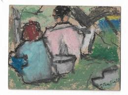 """Couple Assis : Peinture Originale Signé """"J Van Moortel"""" J = Jacqueline 8x10 Cm - Radierungen"""
