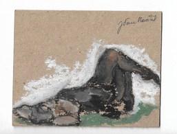 """Jeune Femme Allongée : Peinture Originale Signé """"J Van Moortel"""" J = Jacqueline 8x10 Cm - Radierungen"""