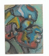 "Carnaval Masque : Peinture Originale Signé ""J Van Moortel"" J = Jacqueline 8x10 Cm - Radierungen"