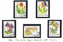 URSS - SG 5622.5626  - 1986 RUSSIAN STEPPES PLANTS (COMPLET SET OF 5)       -  USED°  - RIF. CP - Usati