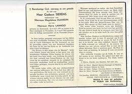 Do 9682 - GEDEON SIERENS - DUJARDIN - ZWEVEZELE 1901 + ROESELARE 1962 - Devotion Images