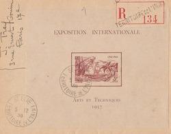Inini Lettre Recommandée Avec Bloc Feuillet N° 1 De L' Expo Coloniale De 1937. Oblit De Saint Elie. Peu Courant - Cartas