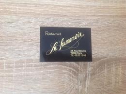 Ancienne De Carte De Visite De Restaurant  La Saumonerie    Paris 9eme - Cartoncini Da Visita