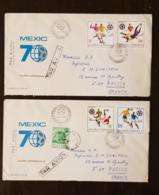ROUMANIE Football, COUPE DU MONDE Mexico 70. N°2539/42 De 1970 Sur 2 Enveloppes Ayant Circulé - 1970 – Mexique