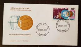 MALI Football, Coupe Du Monde LONDRES 1966. Yvert Yvert PA 38, FDC, Enveloppe 1er Jour - Coupe Du Monde