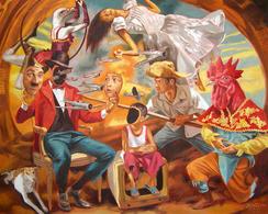 """Vida Y Muerte"", 48"" X 60"", Oil On Canvas, 2019 By Juanito Torres - Huiles"