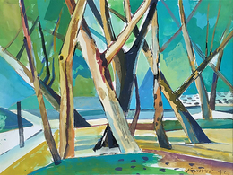 """""""Trees"""" 8"""" X 12"""" Tempera On Paper 1992 By  ANG, Kiukok - Huiles"""