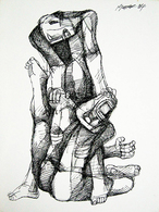 """""""Two Figures"""" 12"""" X 9"""" Pen And Ink 1984 By ANG, Kiukok - Huiles"""