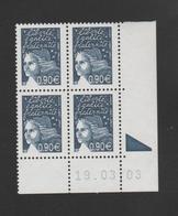 FRANCE / 2003 / Y&T N° 3573 ** : Luquet RF 0.90 € Bleu Foncé X 4 - Coin Daté 2003 03 19 (RE) - Angoli Datati
