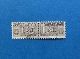 1960 ITALIA SERVIZI PACCHI IN CONCESSIONE 80 LIRE FRANCOBOLLO USATO ITALY STAMP USED - Pacchi Postali
