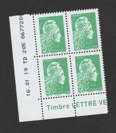 FRANCE / 2018 / Y&T N° 5252 ** : Marianne D'YZ (de Feuille Gommée) TVP LV X 4 - Coin Daté 2019 01 16 - TD 205 - Angoli Datati