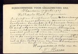 Rijkscommissie Graadmeting - Vleuten Grootrond 1907 Delft 2 Langebalk - Marcophilie