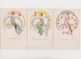 7cpa .A.Douhin .7 Pêchés Capitaux.Femmes Style Art Nouveau (orgueil,luxure,envie,avarice,gourmandise,paresse,colère - Illustratori & Fotografie