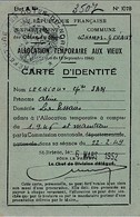 1952 - St BRIEUC - LES CHAMPS GERAUX (22) - C.I. ALLOCATION TEMPORAIRE AUX VIEUX - Carte Remplie Juil.1954 - Historische Documenten