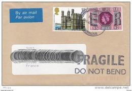 L4O092 GB Lettre PA  Pour Roubaix France  / 11p Siver Jubile,  11p Château De Caernarvon - 1952-.... (Elizabeth II)