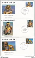 L4O185 POLYNESIE FRANCAISE 1986 FDC Visages Polynésiens 43, 49 51f Papeete 19 02 1986 / 3 Envel.  Illus. - FDC