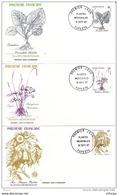 L4O203 POLYNESIE FRANCAISE 1987 FDC Plantes Médicinales46, 53, 54f Papeete 16 09 1987 / 3 Envel.  Illus. - Plantes Médicinales
